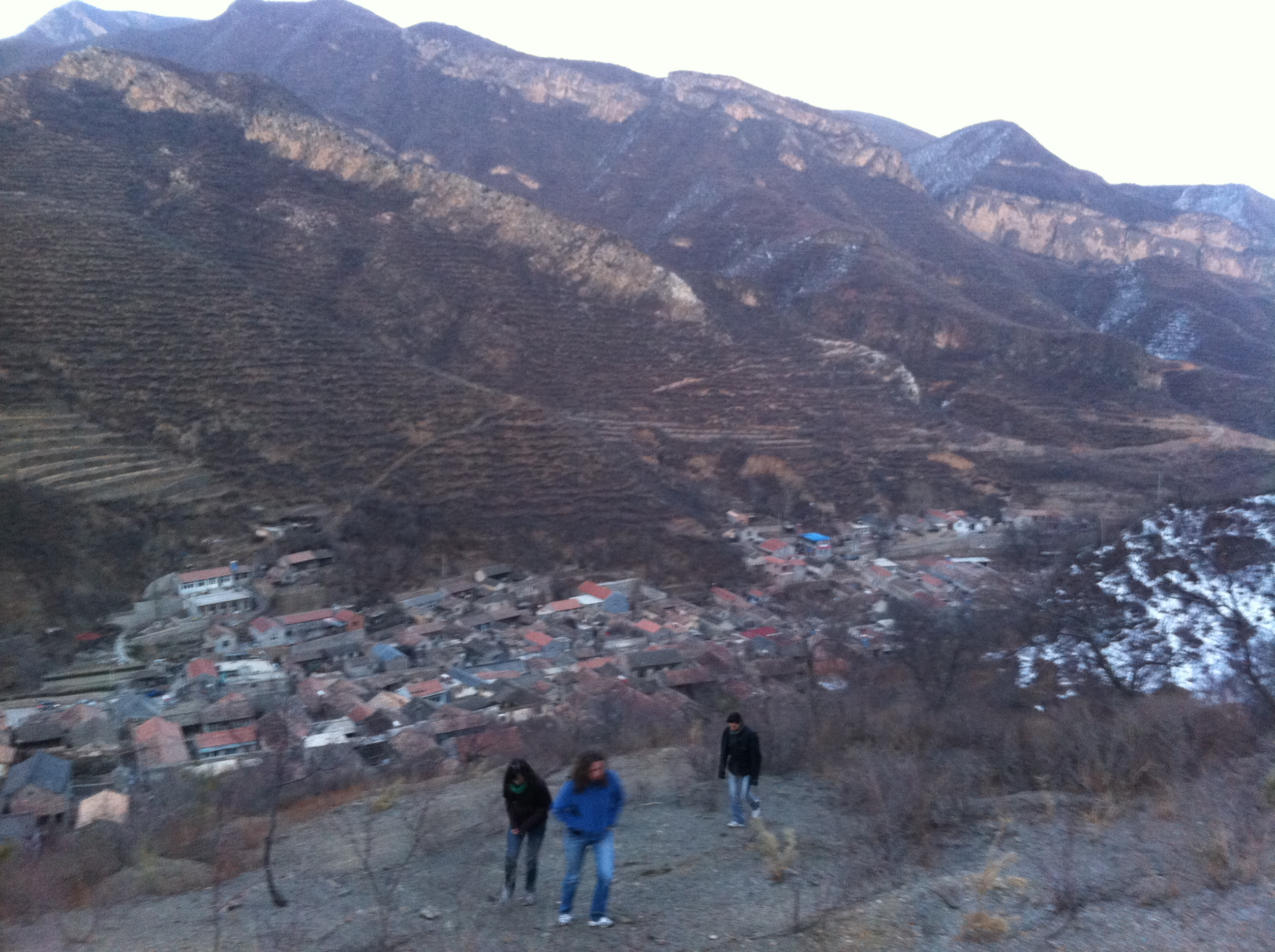 Hiking up the Mountain Near Cuandixia