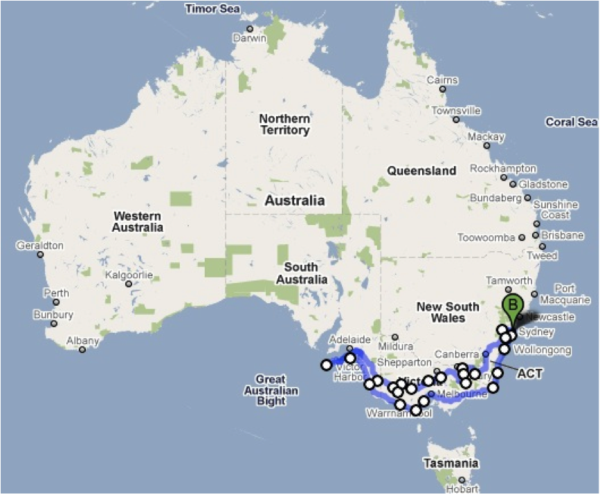Map of Motorcycle Route-Australia