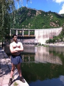 After a swim at the Great Wall