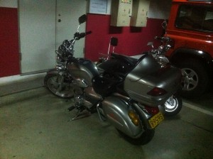 Parking the motorcycle