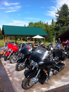 Parked bikes in Adirondacks