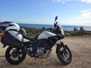Our rented Suzuki V-Strom on the Cornish coastline